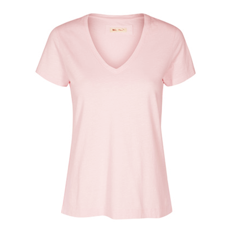 MOS MOSH T-SHIRT - ARDEN V-NECK SOFT ROSE