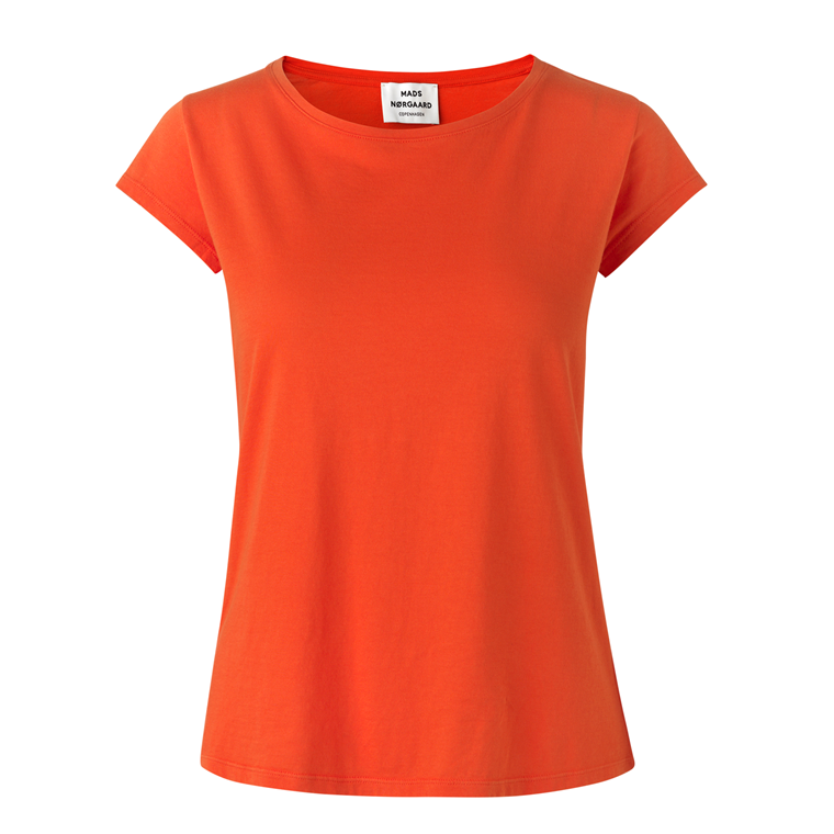 MADS NØRGAARD T-SHIRT - TEASY JERSEY  DEEP ORANGE