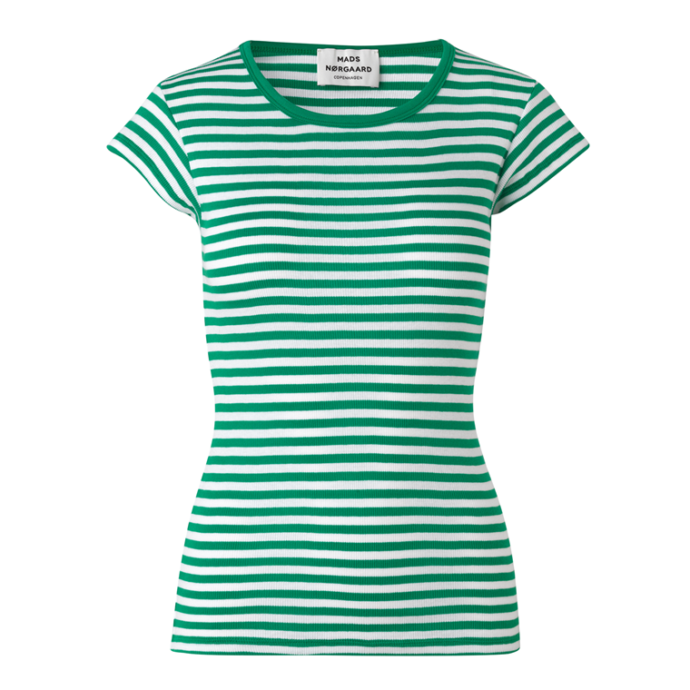 MADS NØRGAARD - 2X2 SOFT STRIPE TRAPPY GREEN/WHITE