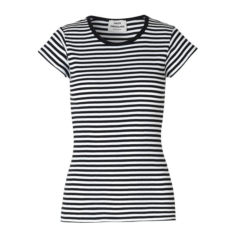 MADS NØRGAARD T-SHIRT - 2X2 SOFT STRIPE TRAPPY BLACK/WHITE