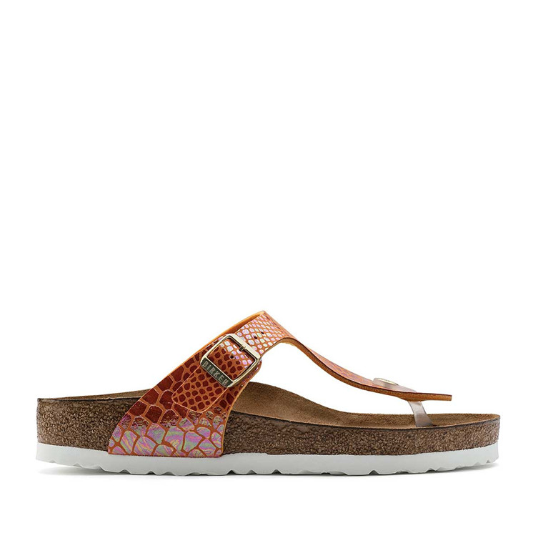 BIRKENSTOCK SANDAL - 1005285 GIZEH SHINY SNAKE ORANGE
