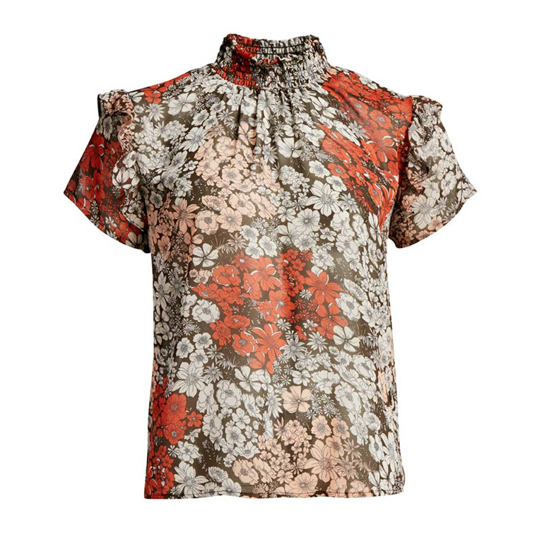 CO'COUTURE BLUSE - VIRGINIA FLOWER NUDE ROSE