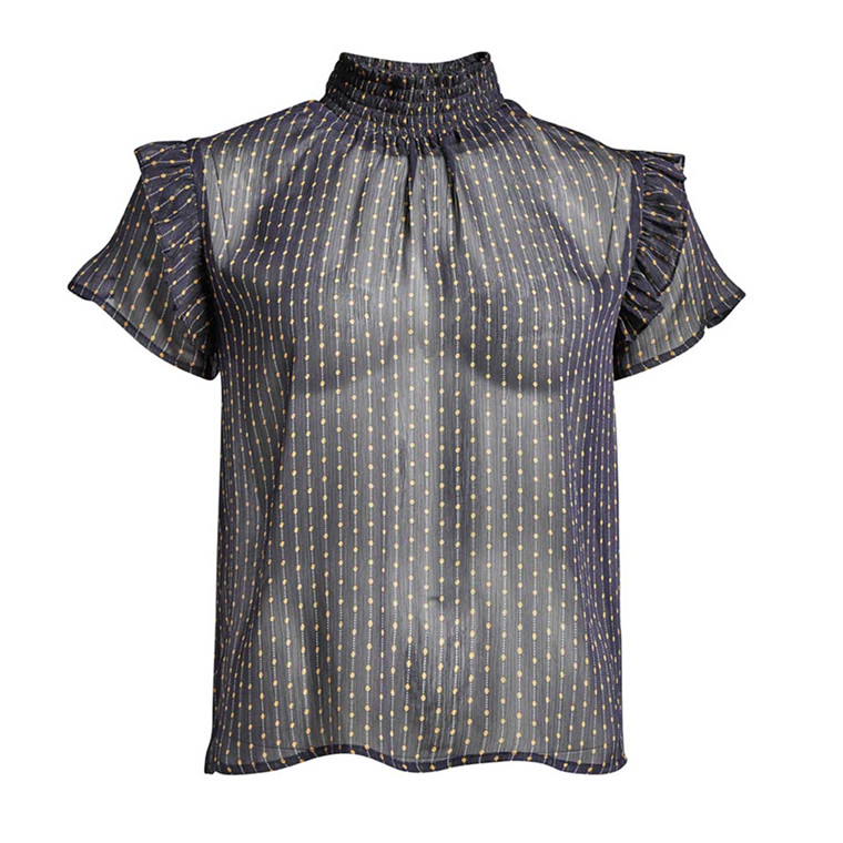 CO'COUTURE BLUSE - VIRGINIA SQUARE NAVY