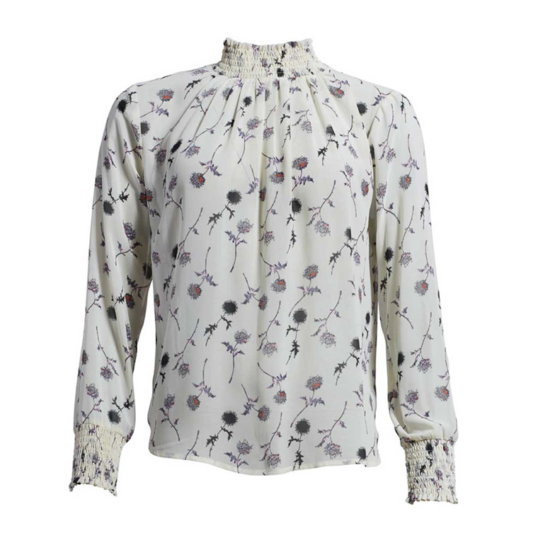 CO'COUTURE BLUSE - FELINE POPPY BLOUSE OFF WHITE