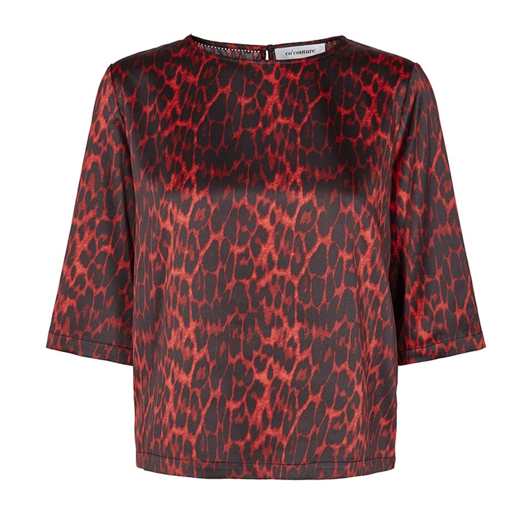 CO'COUTURE BLUSE - ANIMAL SATEEN RED