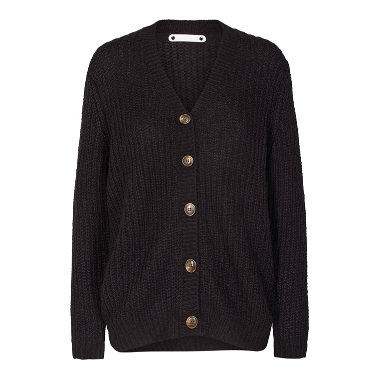 CO'COUTURE CARDIGAN - DENIRO RIB BLACK