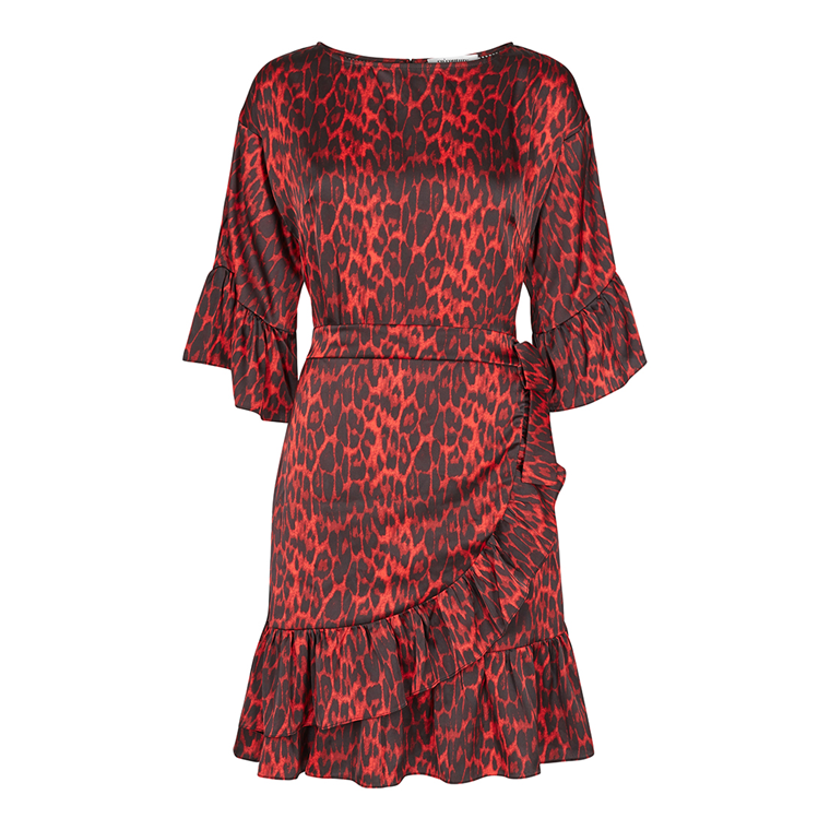 CO'COUTURE KJOLE - ANIMAL SATEEN WRAPPI RED