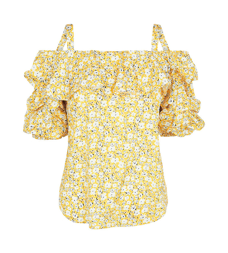 CO'COUTURE TOP - POPPY FRILL YELLOW