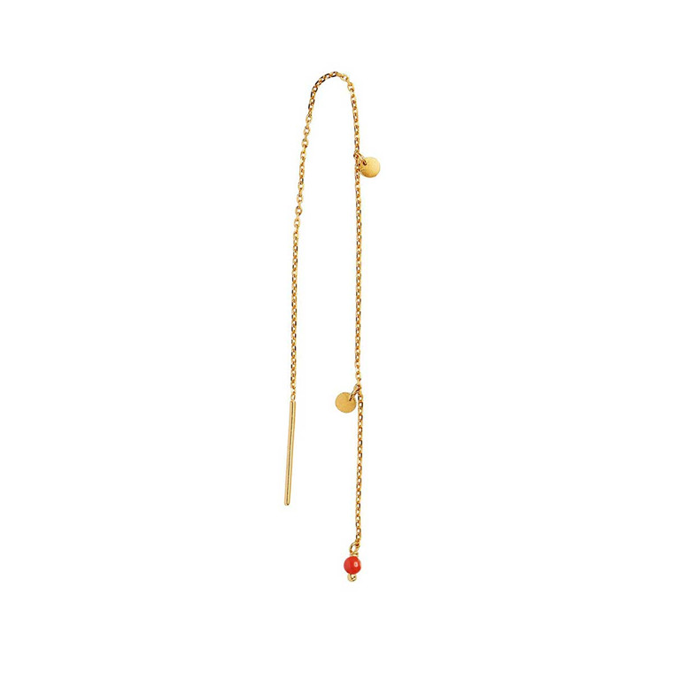 STINE A ØRERING - 1126 DANGLING PETIT COIN AND STONE RED CORAL