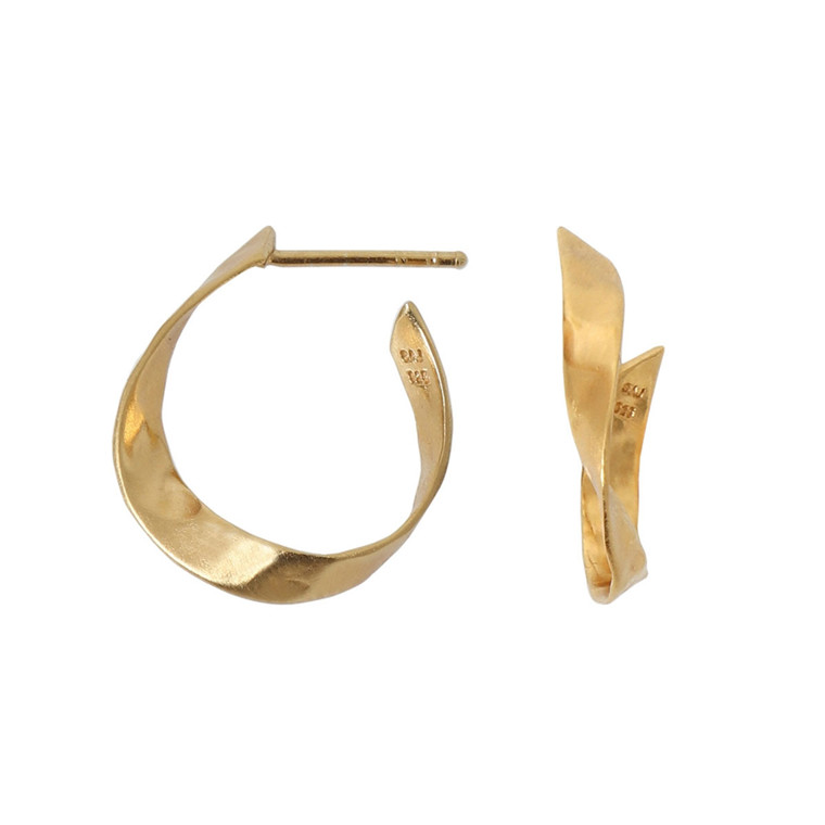 STINE A ØRERING - 1179 R TWISTED HAMMERED CREOL GULD