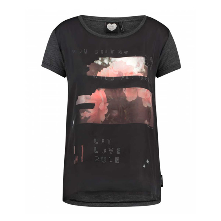 CATWALK JUNKIE T-SHIRT - WILD ROSES DARK GREY