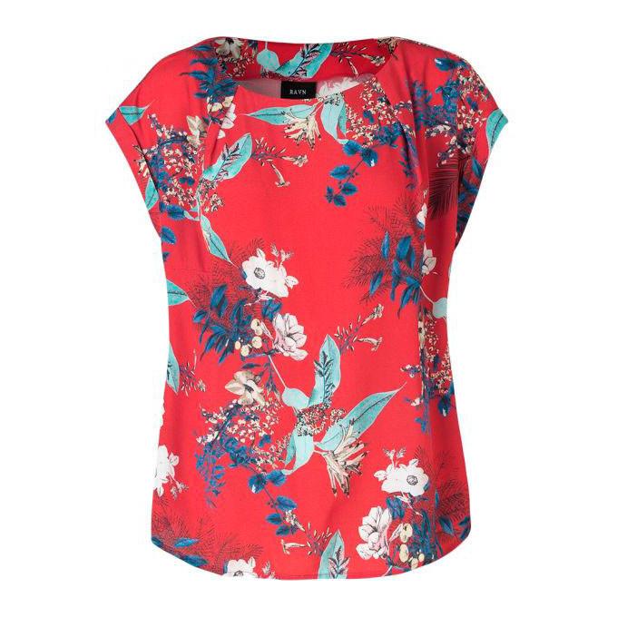 RAVN  BLUSE - BETTE FLOWER - RED FLOWER PRINT