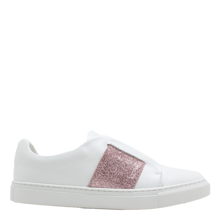 PHILIP HOG SNEAKERS - ELASTIC WHITE/DUSTY ROSE GLITTER
