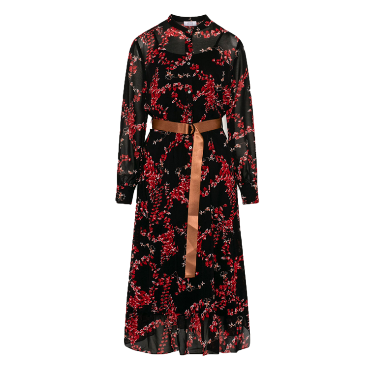 LOVE & DIVINE KJOLE - LOVE 259 BLACK/RED FLOWER
