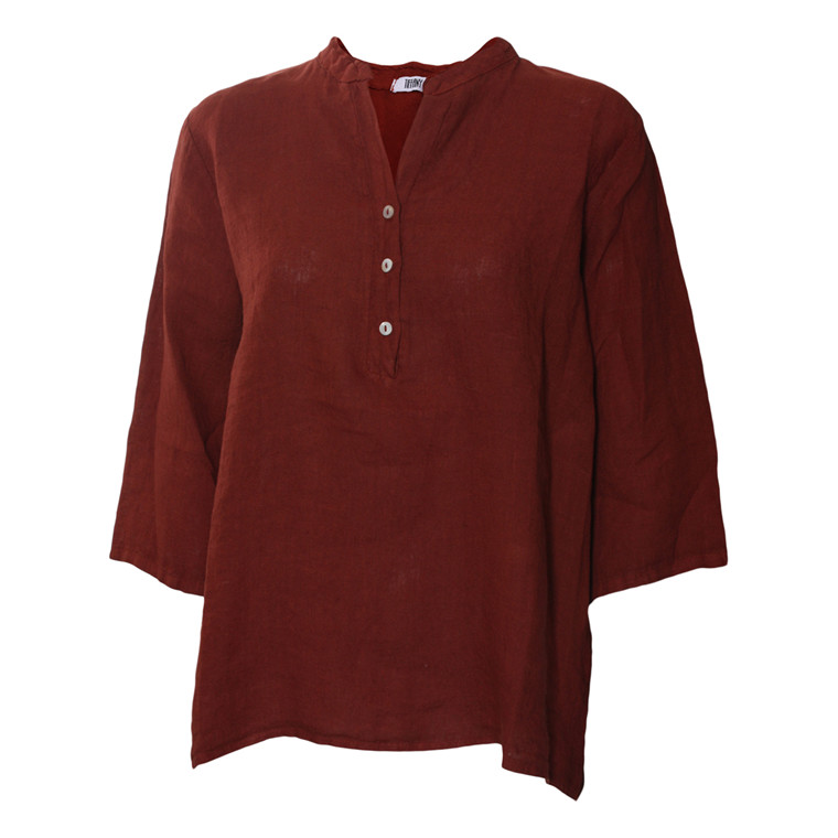TIFFANY BLUSE - 17661 SHORT SHIRT DUSTY RED