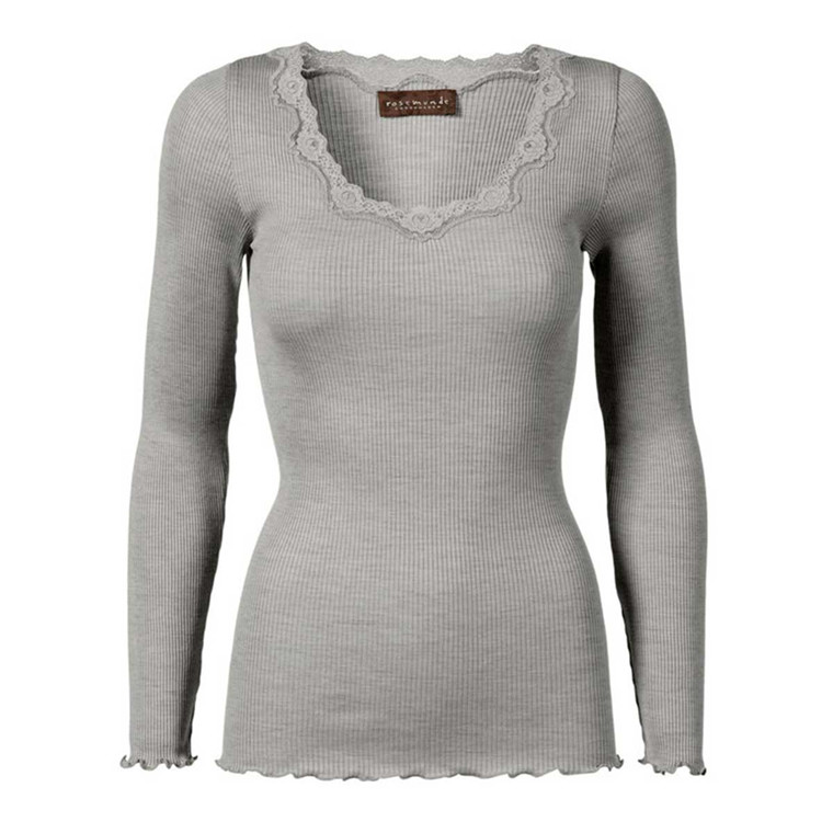 ROSEMUNDE BLUSE - 5369 SILK T-SHIRT 008 LIGHT GREY MELANGE