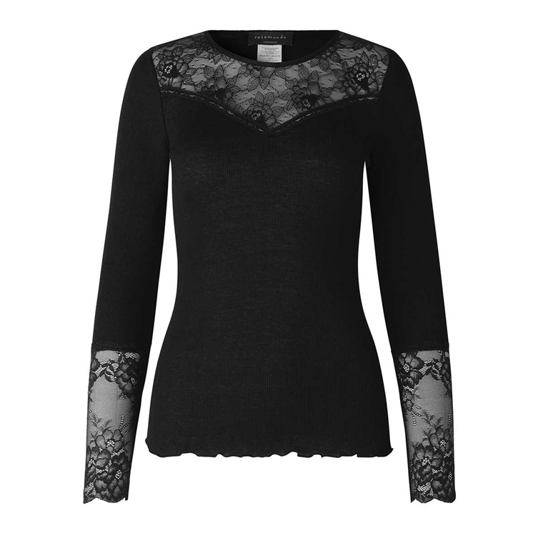 ROSEMUNDE BLUSE - 5657 SILK T-SHIRT LACE - 010 BLACK