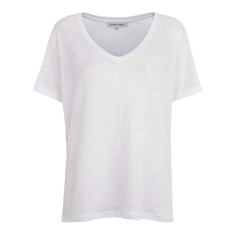 SECOND FEMALE T-SHIRT - PEONY V-NECK WHITE