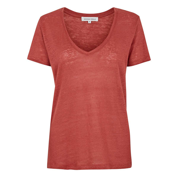 SECOND FEMALE T-SHIT - PEONY V-NECK ROSEWOOD