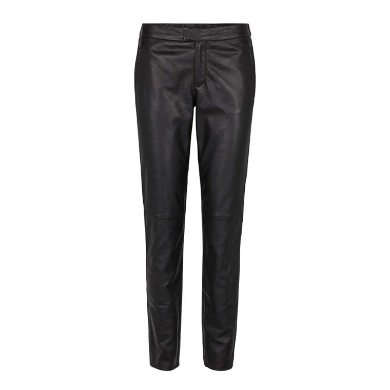 SECOND FEMALE BUKSER - ROBERTA ZIP LEATHER TROUSERS BLACK