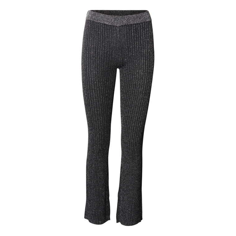 SECOND FEMALE BUKSER - MOON KNIT TROUSERS BLACK