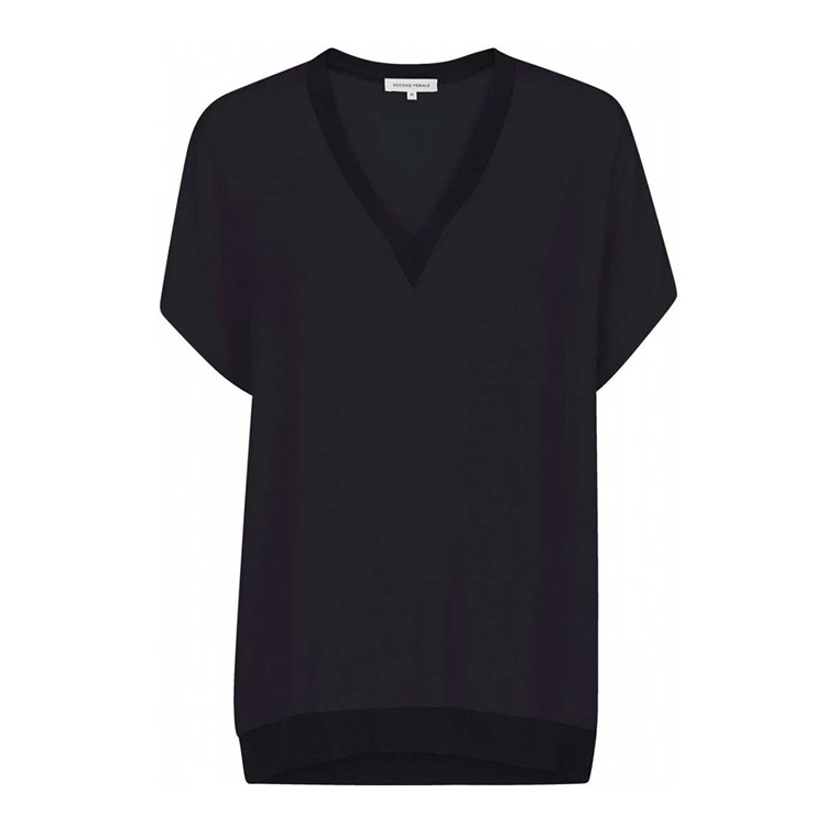 SECOND FEMALE BLUSE - ISSY TOP BLACK