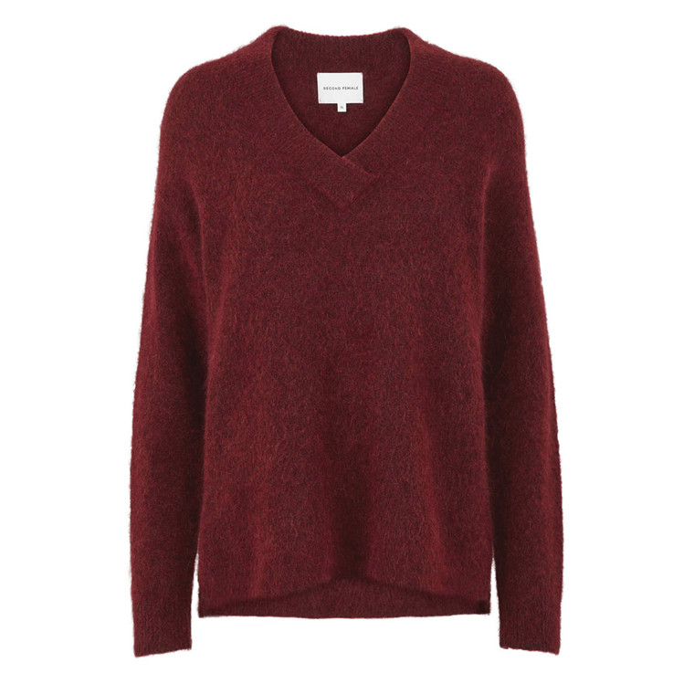 SECOND FEMALE STRIK - BROOK KNIT DEEP V-NECK POMEGRANATE