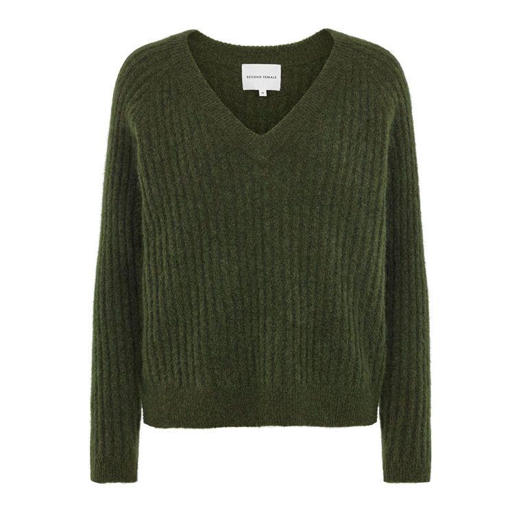 SECOND FEMALE STRIK - ALISSA KNIT V-NECK RIFTE GREEN