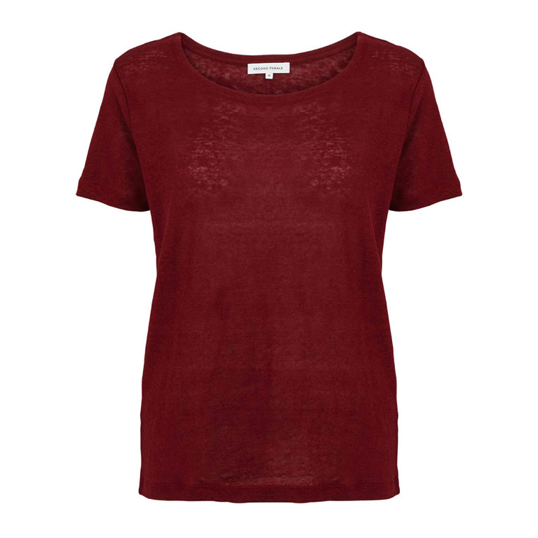 SECOND FEMALE T-SHIRT PEONY TEE O NECK POMEGRANATE