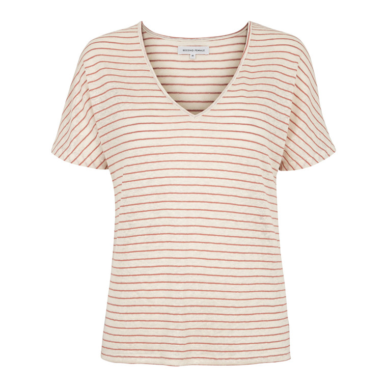 SECOND FEMALE T-SHIRT - ALICE V-NECK GOLDEN CLAY