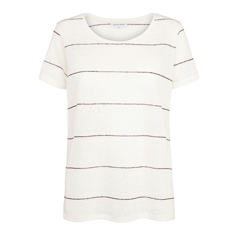 SECOND FEMALE T-SHIRT - PEONY STRIP O-NECK PLUM WINE