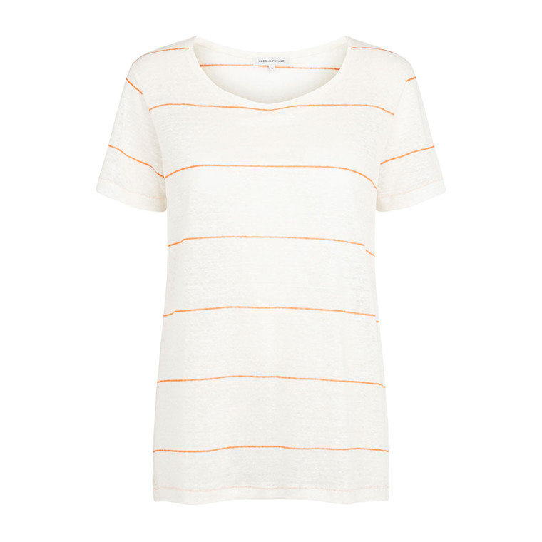 SECOND FEMALE T-SHIRT - PEONY STRIP O-NECK TEE SECOND FEMAL ORANGE