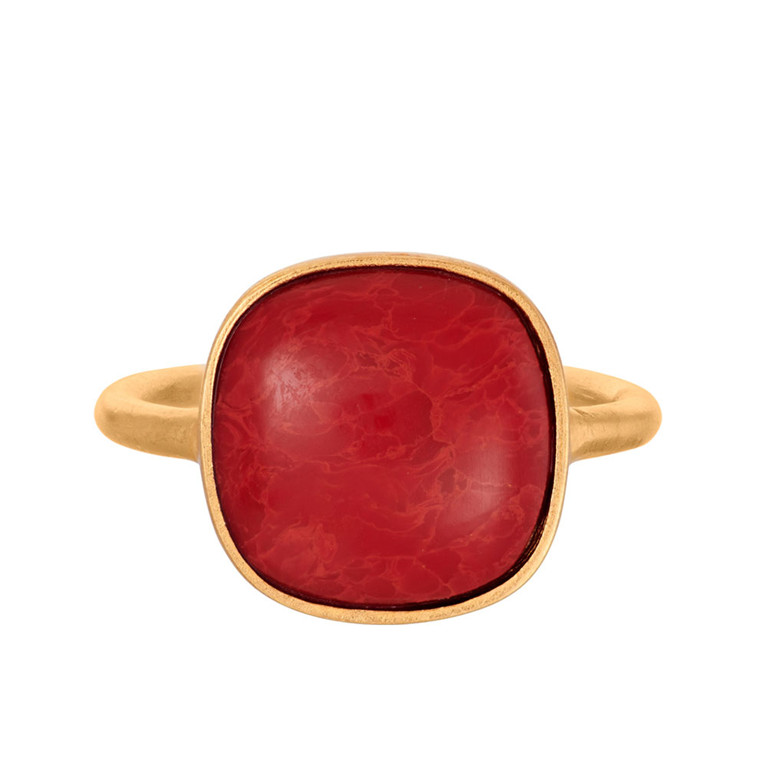 PERNILLE CORYDON RING - R-037 CORAL GULD