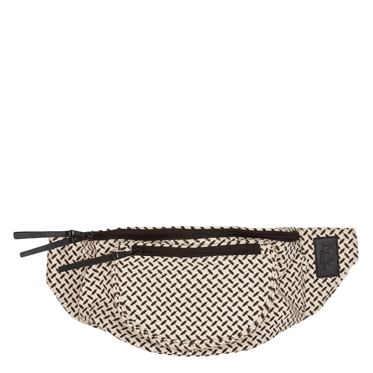 LALA BERLIN TASKE - BIG BELT BAG KANA KUFIYA OFF-WHITE/BLACK