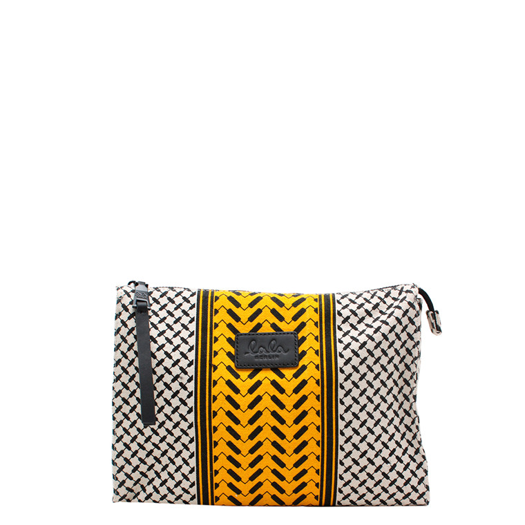 LALA BERLIN TASKE - POUCH PILI COLOR BLOCKED OFF-WHITE/MANGO