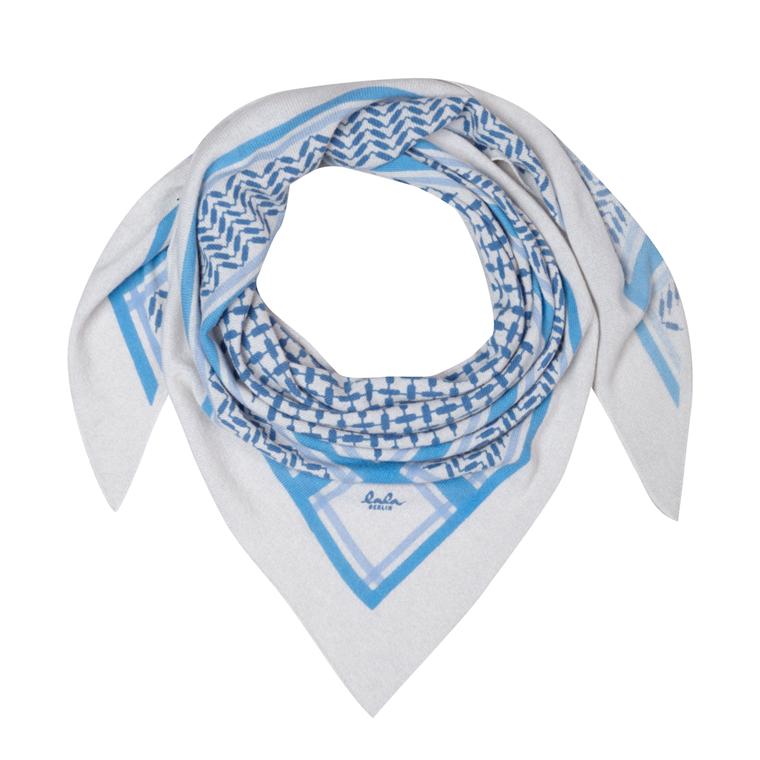 LALA BERLIN TØRKLÆDE - TRIANGLE TRINITY COLORED BLUE ON ALABASTRO