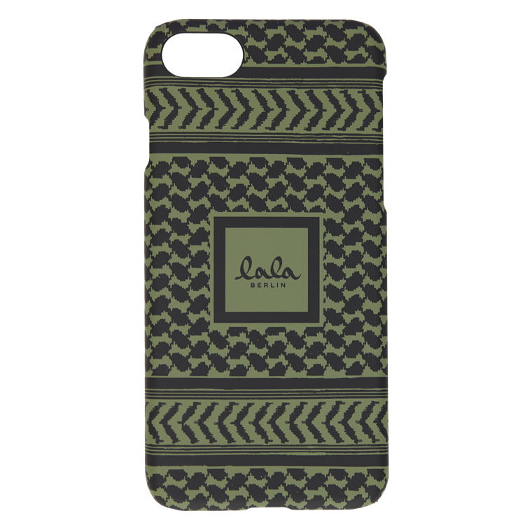 LALA BERLIN IPHONE COVER - IPHONE 8 KUFIYA CYPRESS/BLACK SCRIBBLED