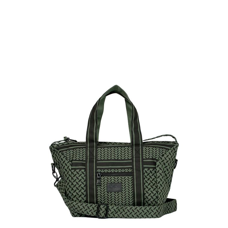 LALA BERLIN TASKE - SMALL BAG MURIEL CANVAS KUFIYA CYPRESS/BLACK