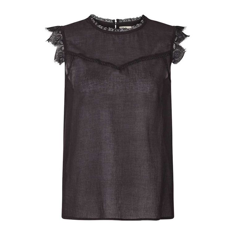 LOLLYS LAUNDRY TOP - DEA WASHED BLACK