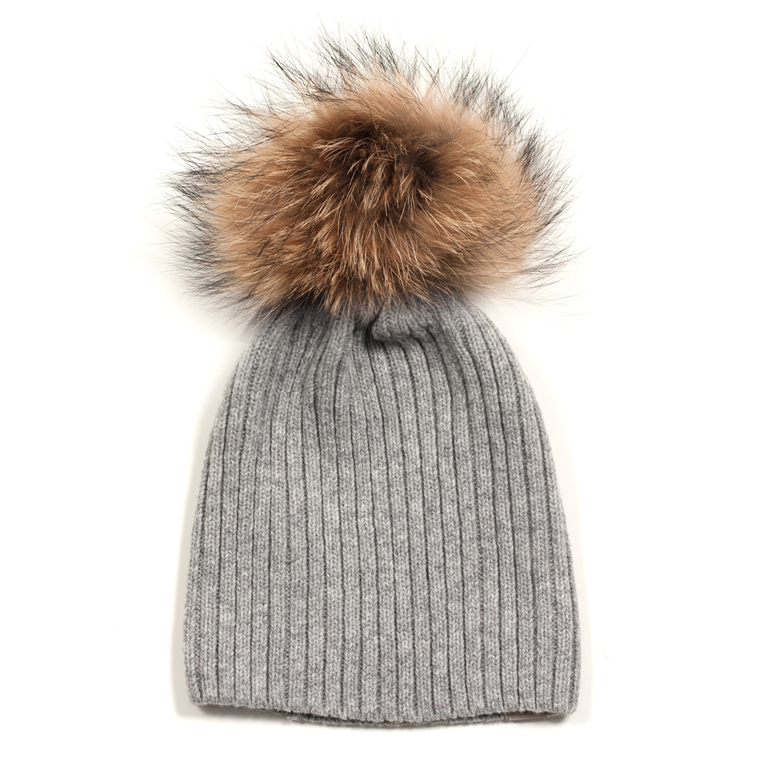 ET-TU HUE -  KNITHUT RIB/FUR 49 LIGHT GREY
