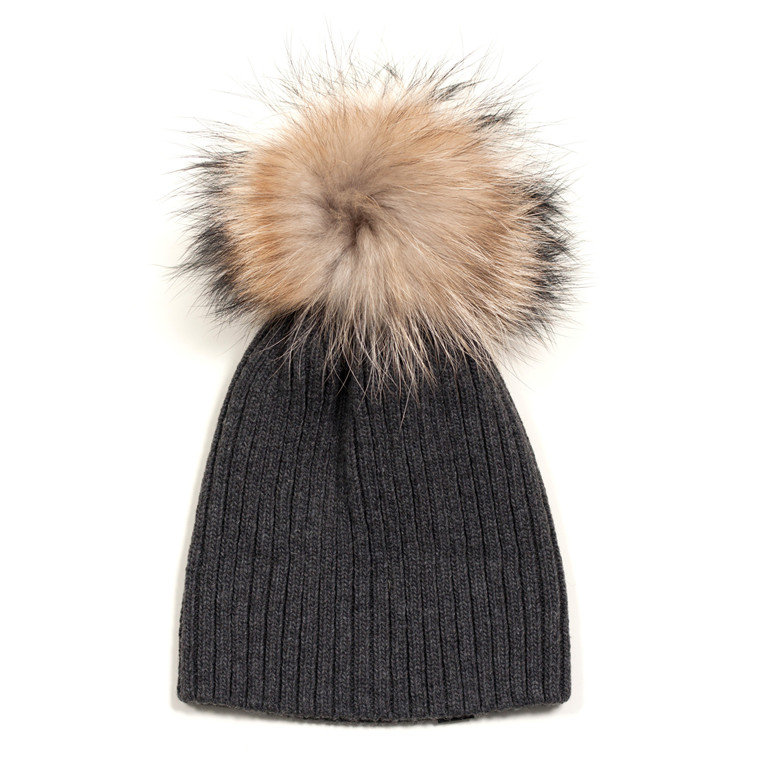 ET-TU HUE - KNITHUT RIB/FUR 49 DARK GREY