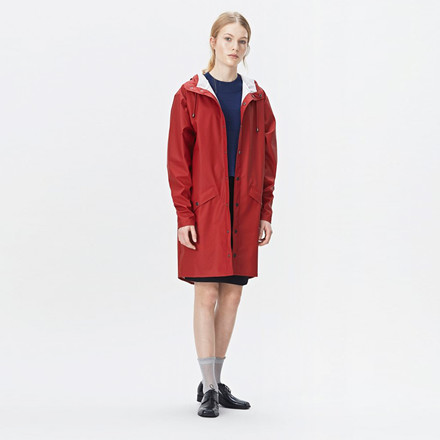 RAINS REGNJAKKE - 1202 LONG JACKET SCARLET