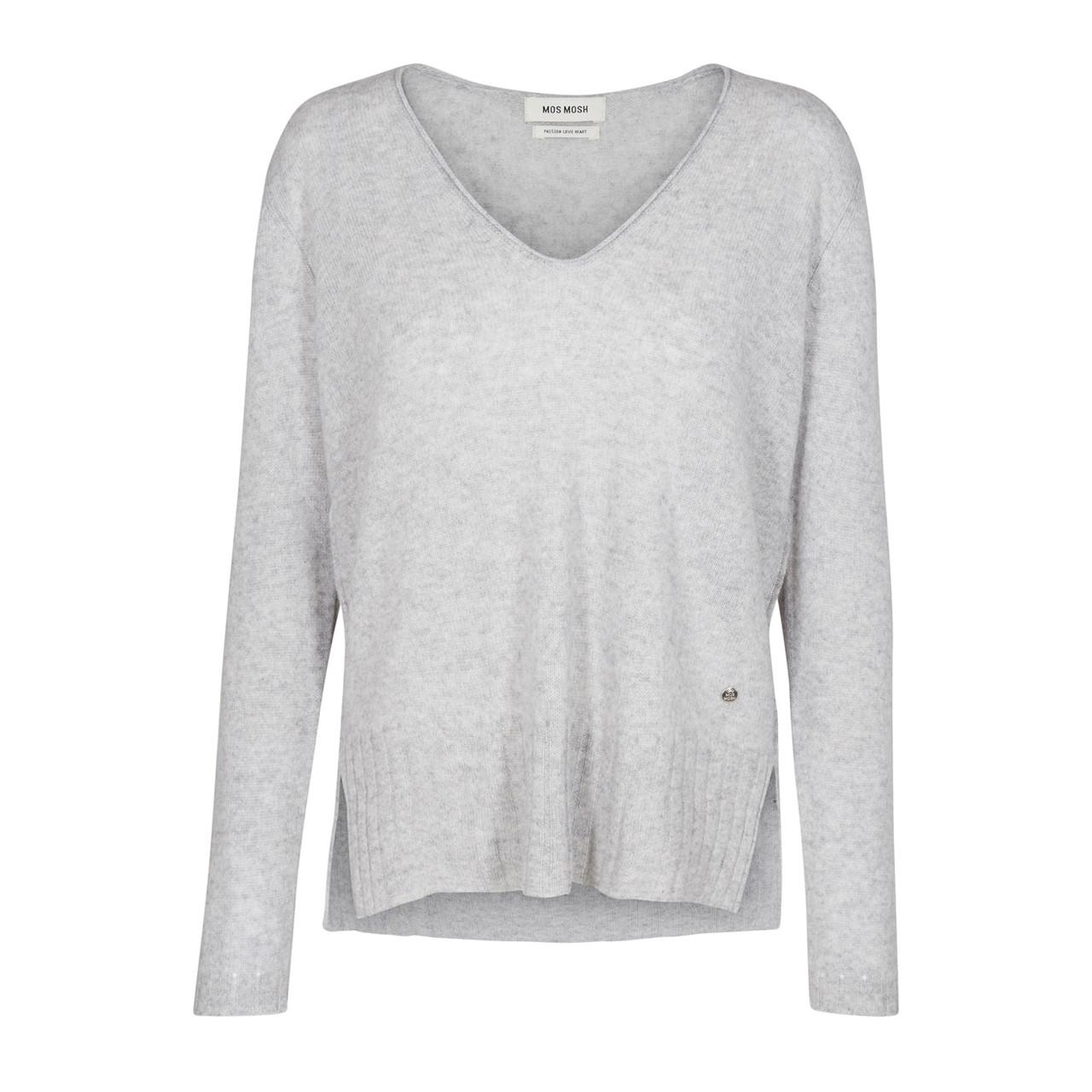 sophia bluse v neck cashmere grey melange mos mosh. Black Bedroom Furniture Sets. Home Design Ideas