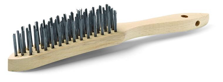 Stålbørste, 4 rækkers, 30 mm, ulakeret træskaft