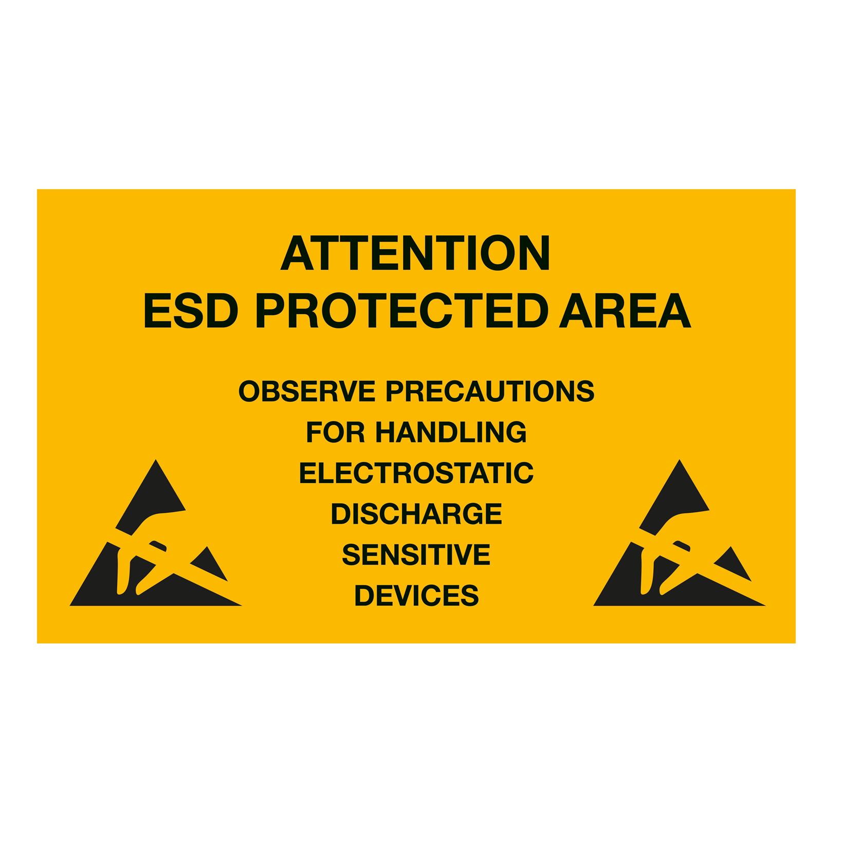ESD advarselsskilt 300 x 500 mm til ophængning - Engelsk