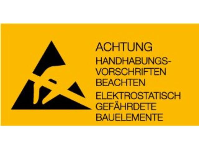 ESD advarselsmærkat, 36 x 75mm, 1000 stk - Tysk