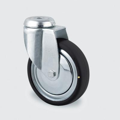 Drejeligt ESD hjul 125 mm i galvaniseret stål