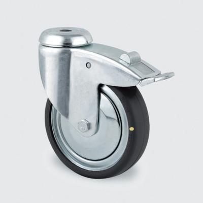 Drejeligt ESD hjul, 100 mm, m. bremse og hul