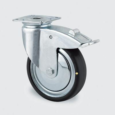 Drejeligt ESD hjul, 100 mm, m. bremse og plade