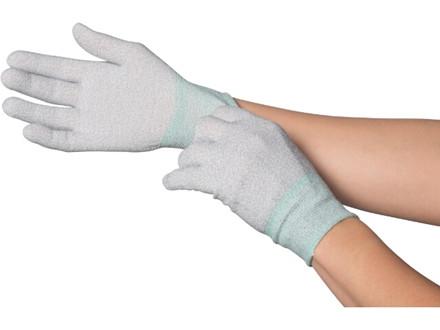 Tætsiddende nylon/polyesterhandske med ribkant